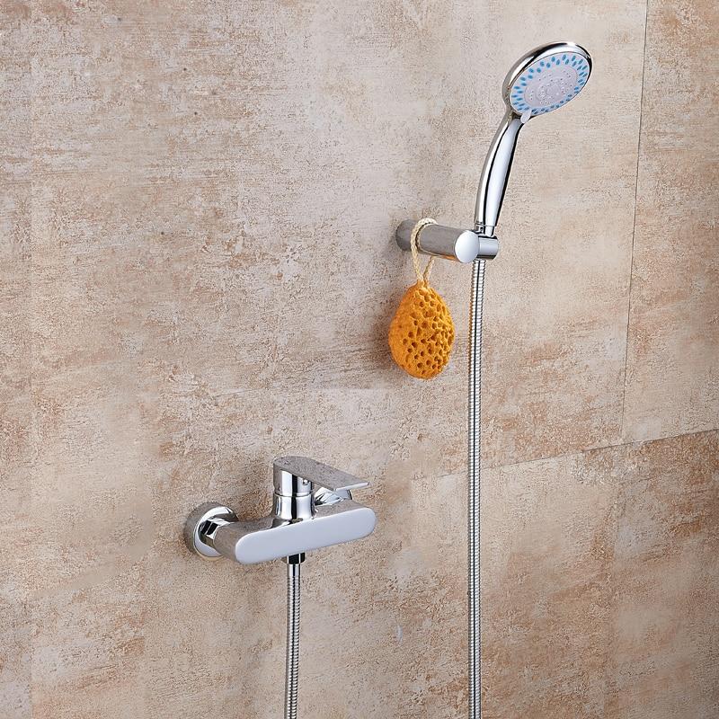 European Style White Gold Bath Shower Set Full Copper Triple Faucet Bathroom Shower Handheld Simple Shower