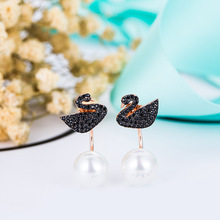 Fashion Black Swan Pearl Earrings 925 Sterling Silver Earrings after hanging Earrings simple black female anti allergy