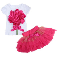 Casual Clothing Set 2 Pieces T Shirts Short Skirts With Red Flower Outerwear And Outdoor For