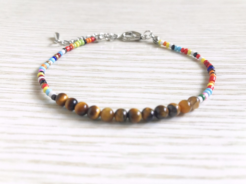 Fashion Seed Bead Bracelet Rainbow bracelets Multi Color bracelets Mini Tiger Eye Stone Bracelet Mini Colorful Beaded Bangle