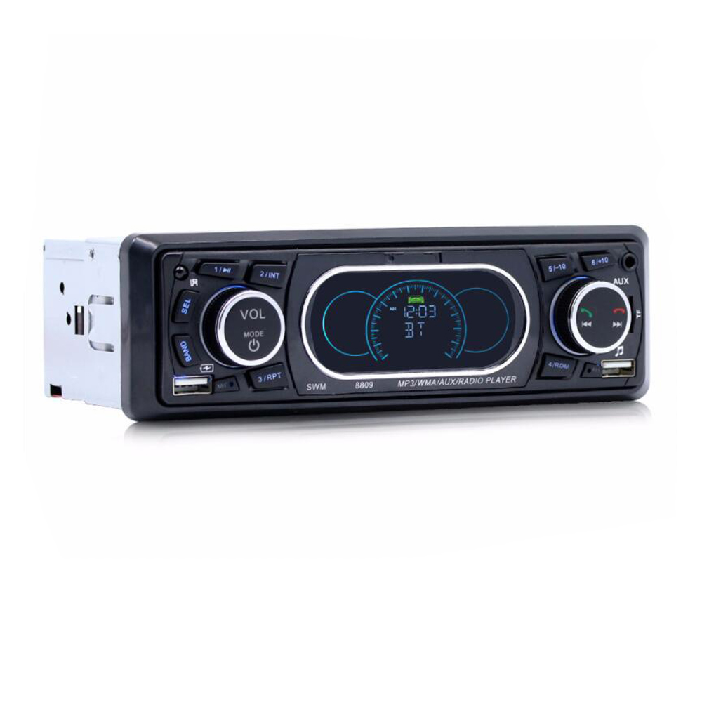 Bluetooth 1-Din Car Stereo Audio In-Dash MP3 Radio Player Support USB/TF/AUX/FM Receiver with Wireless Remote Controller 8809