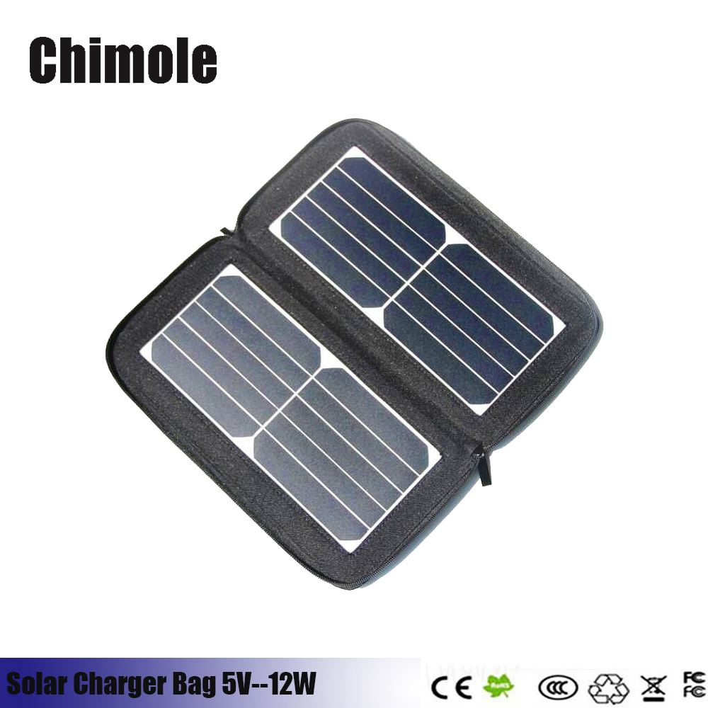 Chimole 5V 12W Double USB Solar Cell Panel Charger For iPhone iPad Solar Power Bank Portable solar charging bag for smartphone
