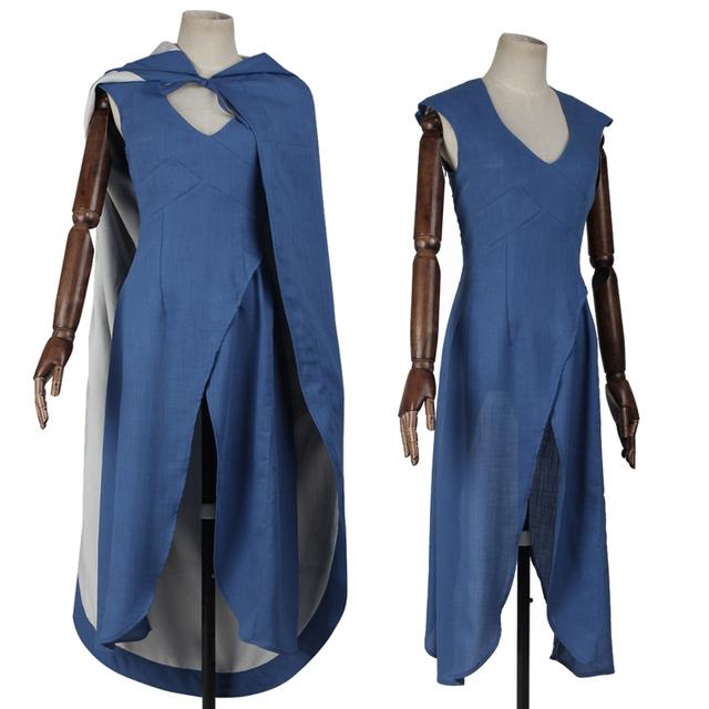 High Quality Game of Thrones Daernerys Targaryen Blue Dress Cloak Costume