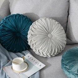 Jednokolorowy aksamitny różowy niebieski żółty marokańska francuska elegancka konstrukcja Nordic dynia powrót łóżko okrągła poduszka poduszka lędźwiowa