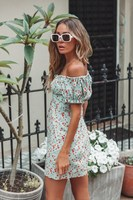 2019 Summer Women Floral Print Boho Dress Bohemian Off Shoulder Puff Sleeve Ruffles Casual Dress Bateau Lace Up Party Dress