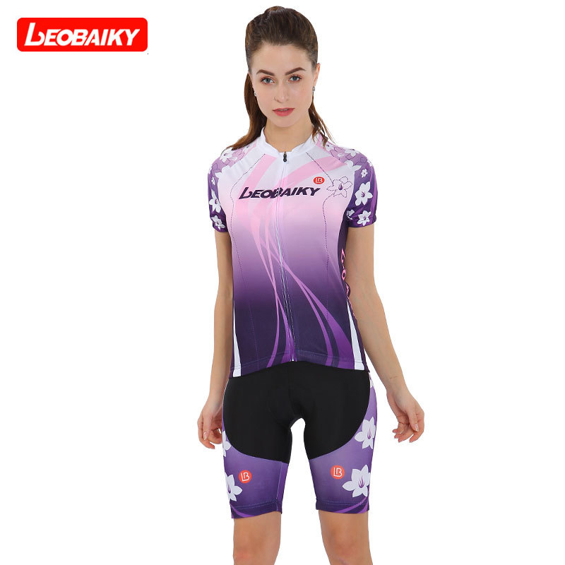 LEOBAIKY Breathable MTB Bike Clothing Women Bicycle Clothes Ropa Ciclismo Cycling Wear 100% Polyester Cycling Jersey Set