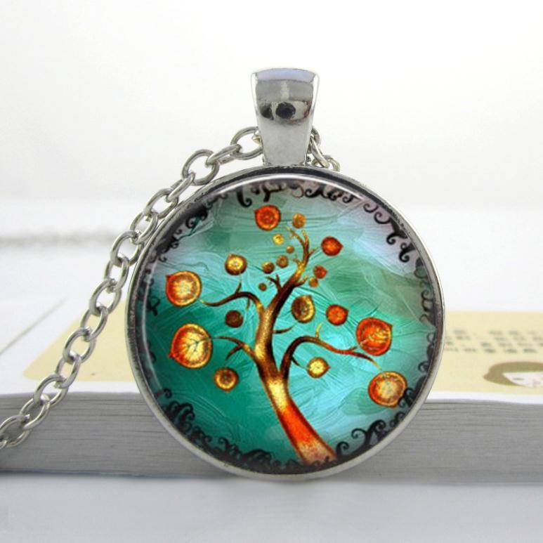 Wholesale tree of life Jewelry Orange Tree Necklace Tree photo art glass dome pendant necklace