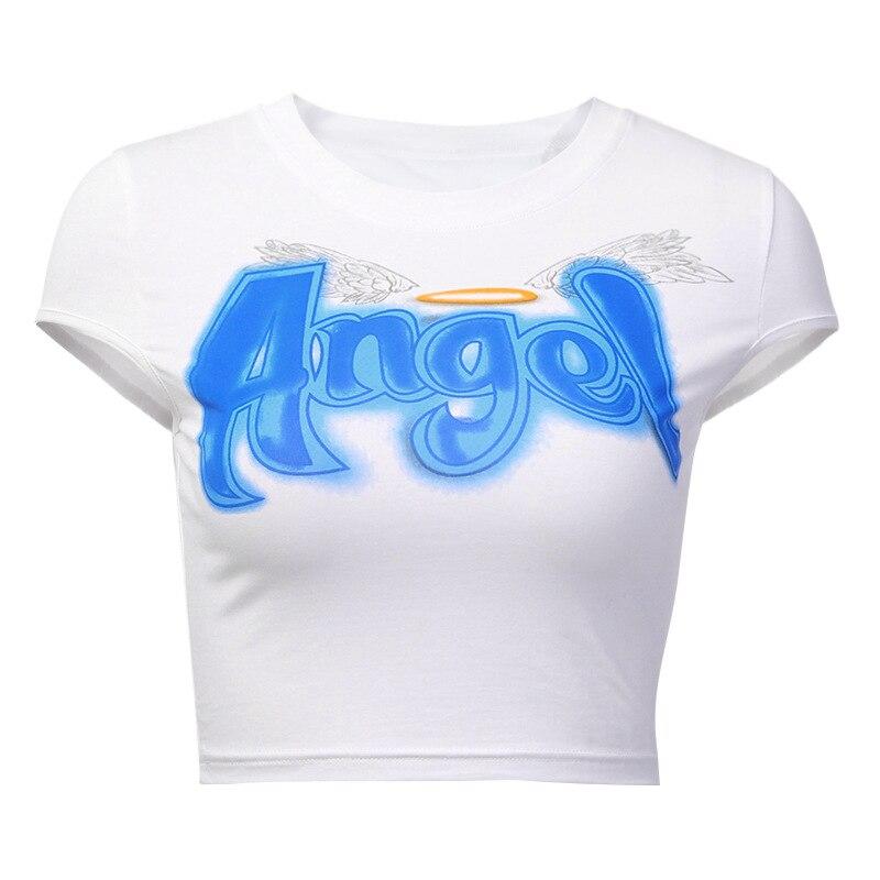 ✔  Женская футболка с ангельским принтом для бега Йога с коротким рукавом Футболка с коротким рукавом п ✔