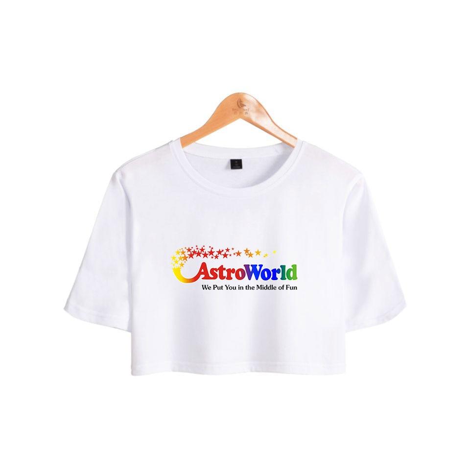 K pop Travis Scotts ASTROWORLD Women T Shirts Girls Short Sleeves O Neck Hip Hop Summer Sexy Casual T Shirt Hip Hop Tops in T Shirts from Women 39 s Clothing