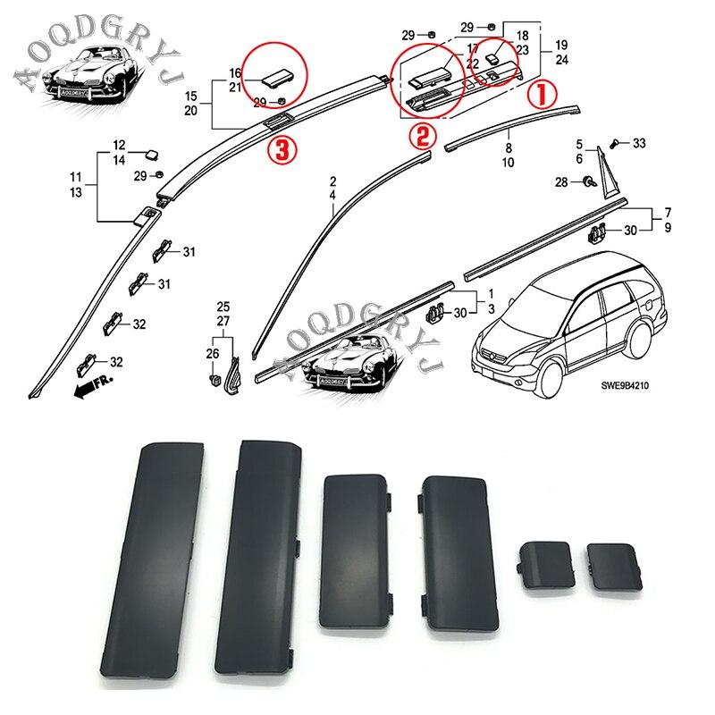 Car styling 6pcs For Honda CRV CR V 2007 2011 ABS Black Roof Rail Rack Cover