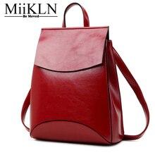 Miikln Рюкзак Женщины Натуральная кожа красный черного, желтого цвета кофе из коровьей кожи высокое качество девушки рюкзак