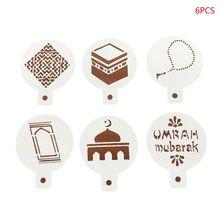 Stencils Ramadan Coffee Plastic Mould Decorating Cake-Mold Spray Mubarak Eid DIY Flower