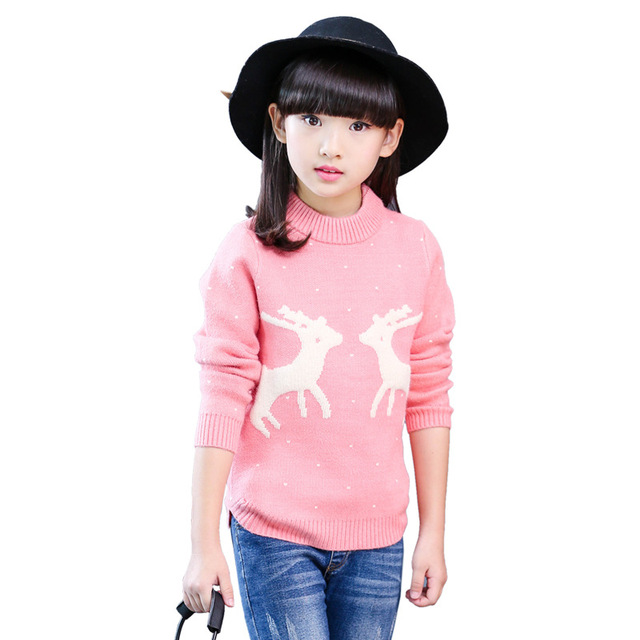 2016 New Baby Girl Sweater Dotted Cartoon Deer Pattern Kid Pullover Sweaters O-neck Long Sleeve Winter Children Knitted Clothes