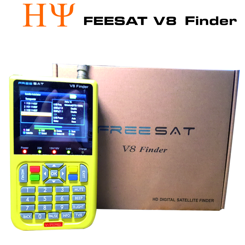 [Genuine]digital satellite finder FREESAT V8 finder signal search meter V8 finder for DVB-S/S2 with 3.5 inch LCD Colour Screen sf 9505a 2 3 digital satellite signal finder meter w compass black