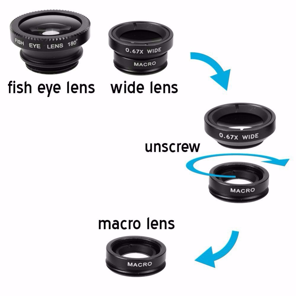Universal 10in1 Phone Camera Lenses Kit 8x Telephoto Lentes FishEye Wide Angle Macro Lens Selfie Stick Monopod Mini Tripod