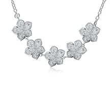 2016 Hot silver flower chokers necklaces fashion jewelry beautiful street style for woman Top quality N336