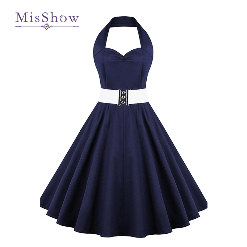 MisShow 2017 women dress Audrey Hepburn summer High waist Halter Dress plus size women clothing 50s 60s robe vintage Dress