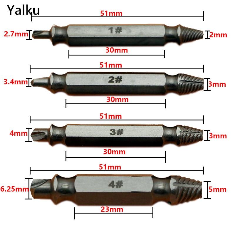 Extractor de tornillo dañado de doble lado Yalku 4pc Brocas S2 - Broca - foto 2