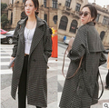 Autumn Vintage Women Long Trench lt Plaid Loose Accept Coat Coats Black Dark Blue 82551