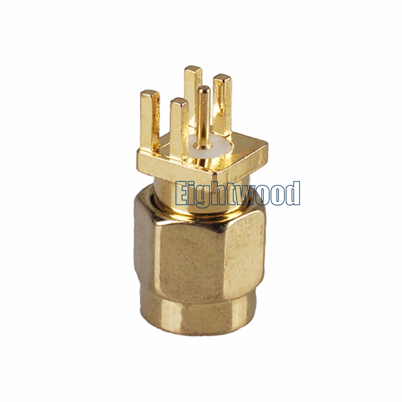 Eightwood SMA Plug Male Connector End Launch Vertical PCB Mount 0.81mm 0.032 inch (10PCS)