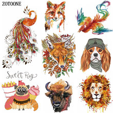 ZOTOONE Colorful Warm Animal Iron on Transfer for Clothing Beaded Applique Embroidery Flower Patches DIY Clothes Decoration E