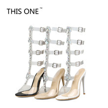 e448efa255 2017 Sexy Pvc Transparent Gladiator Sandals Woman Open Toe T-strap  Rhinestone Diamond Clear High Heel Shoes Women Summer Boots