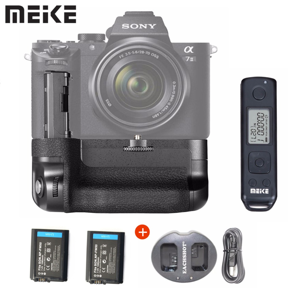 Meike MK-A7II Pro Built-in 2.4g Wireless Control Battery Grip for A7 II A7R II as VG-C2EM With Battery NP-FW50+Charger