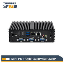 Industrial i7 Mini PC Fanless 4 COM 2 LAN 2 HDMI 4G RAM 128G SSD i5 Mini Computer Server Windows Linux OS