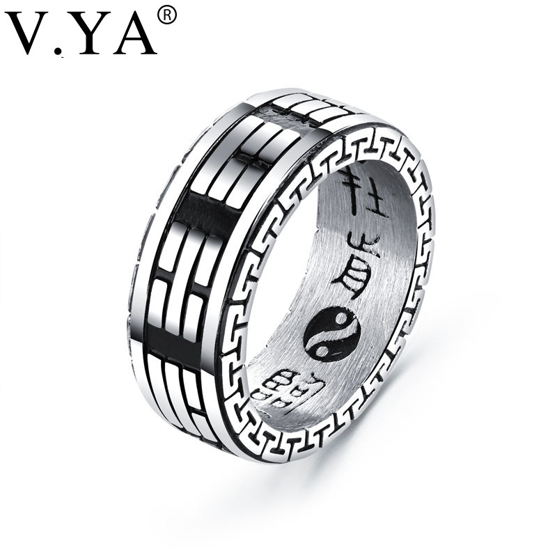 V.YA Size 7 12 Hip Hop Stainless Steel Rings For Man Cool