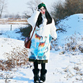 MX154 Nueva Llegada 2016 lindo deer impreso loose largo y grueso caliente pato blanco abajo chaqueta abrigo de invierno de las mujeres