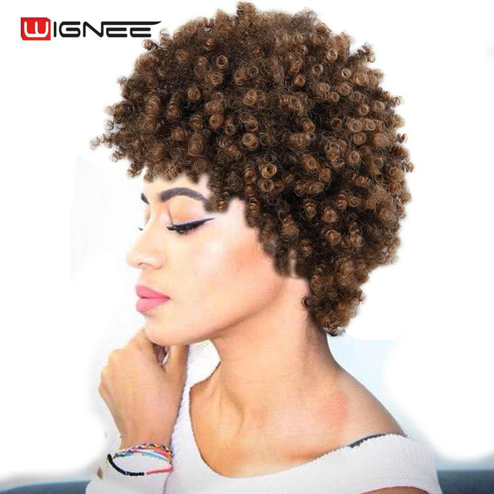 wignee short hair afro kinky curly wig high density temperature synthetic wigs for women mixed brown cosplay african hairstyles