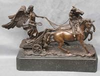 Art Bronze Decoration Crafts Brass Bronze Soldier Angel Lead Two Horse Chariot Art Sculpture Statue