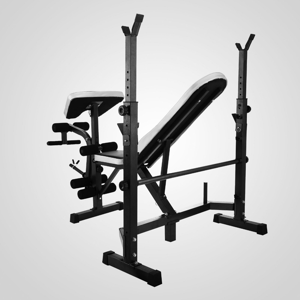 Multi station weight bench press leg curl home gym weights