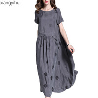 Vintage Summer Short Sleeve Large Sewing Satin Copper Silk Dress Women Grey Black Polka Dot Long Dress Elegant roupas feminina