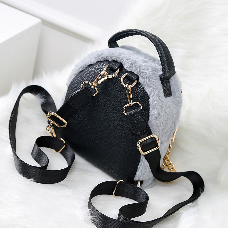 DIINOVIVO Backpack Female Faux Fur Small Backpacks for Women Autumn   Winter  New Fashion Cute School Bag Chain Bagpack WHDV0746-in Backpacks from Luggage  ... ed0d7bad704ce