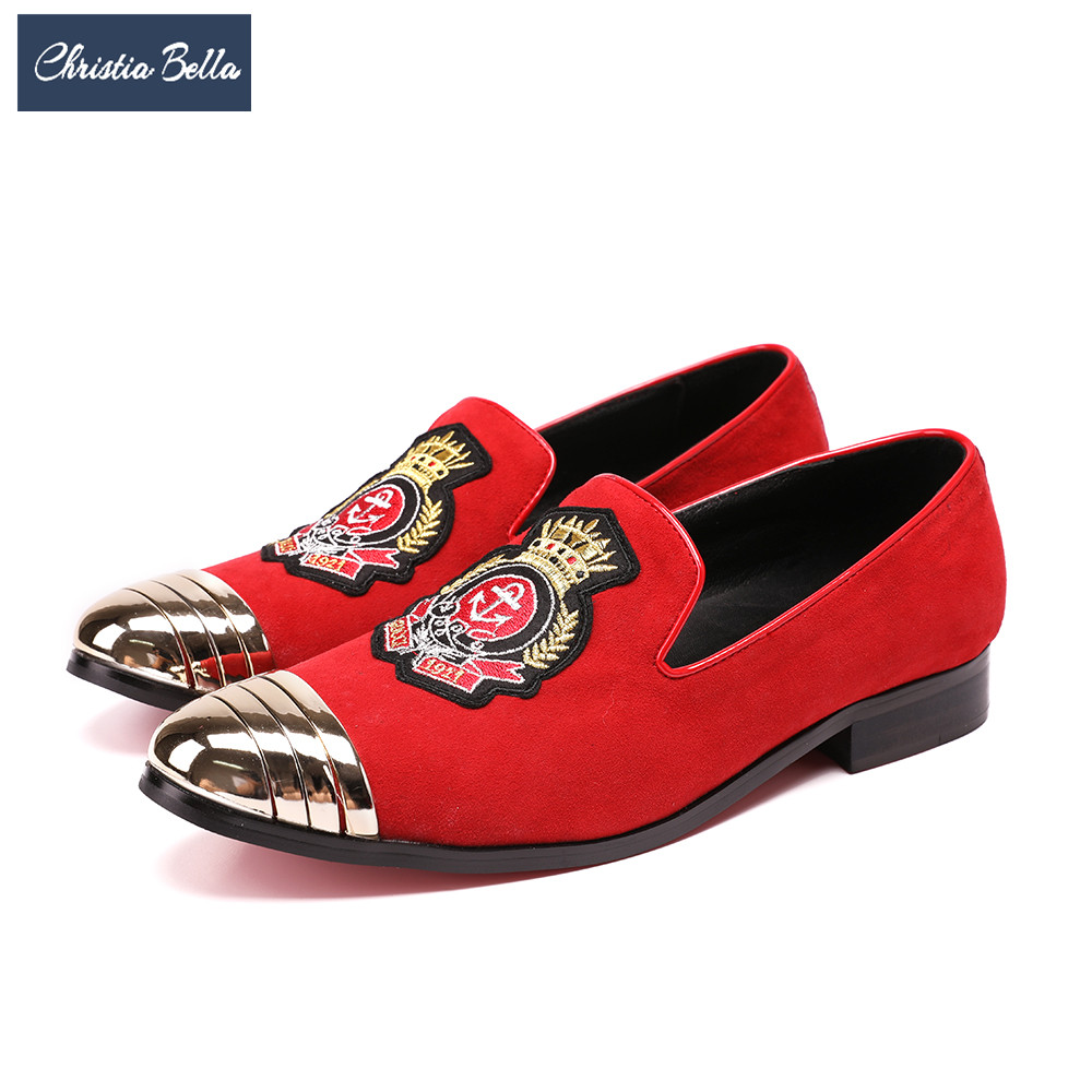 Christia Bella British Style Men Smoking Slippers Red Suede Party Wedding Dress Shoes Embroidery Men Loafers Slip on Male Flats handcraft men velvet shoes with bird embroidery british style smoking slippers fashion party and wedding men dress loafers