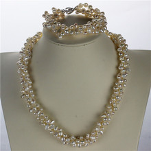 4fc351e43d4 Snh aaa 5-6mm nugget twisted pearl colar pulseira 925 sterling silver  natural cultivadas de água doce pérola conjunto de jóias