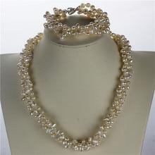 Snh aaa 5-6mm pepita twisted collar de perlas/pulsera plata de ley 925 joyería de perlas cultivadas de agua dulce naturales conjunto