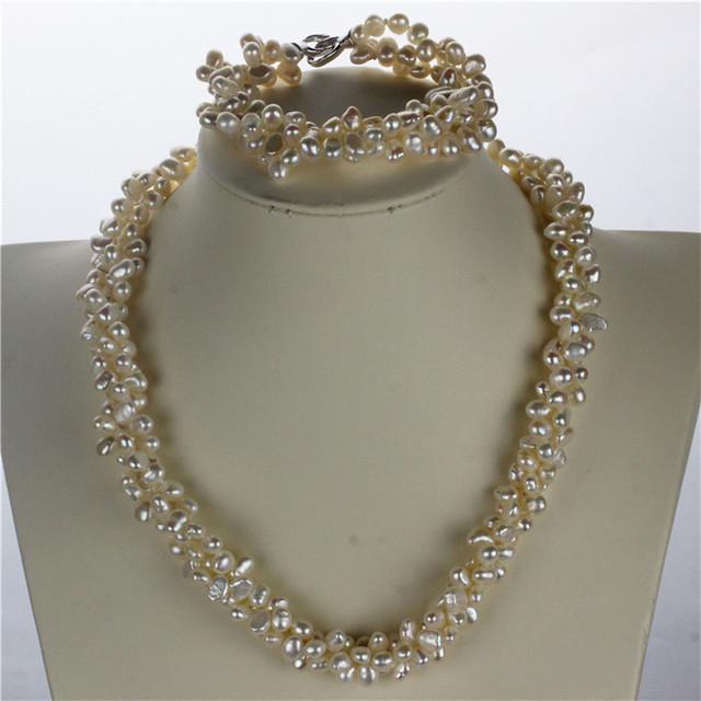 Snh aaa 5-6mm nugget pérola torcida colar/pulseira de prata esterlina 925 natural cultivadas de água doce pérola jóias conjunto