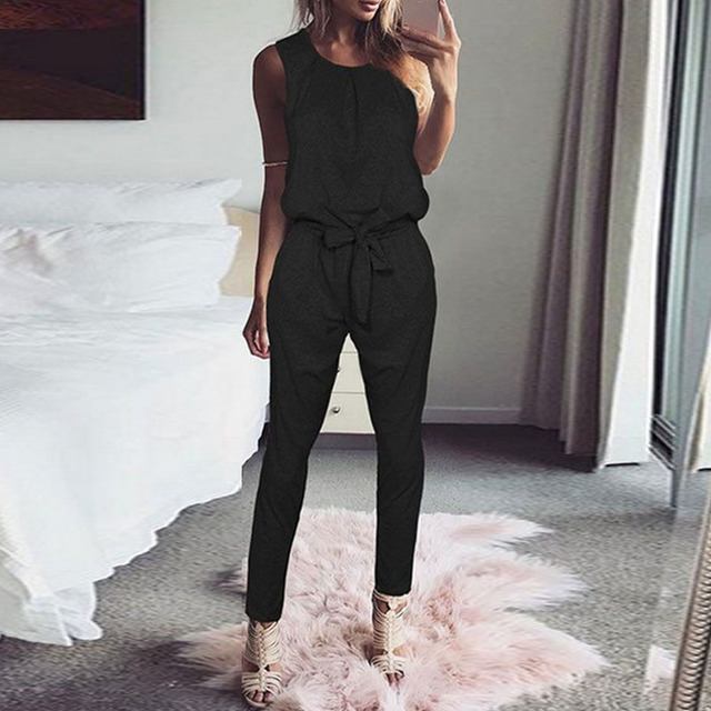 ded7ea2ab9 2018 Fashion Women Jumpsuit Sleeveless Casual Rompers Playsuit Solid Harem  Pants Overalls Long Combinaison Femme Bodysuit Mono