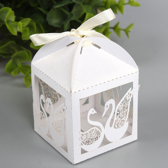 Us 9 42 30 Off Aliexpress Com Buy Free Shipping Hollow Laser Swan Candy Box Gift Boxes Wedding Party Favor Decoration With Ribbon 50pcs Lot From
