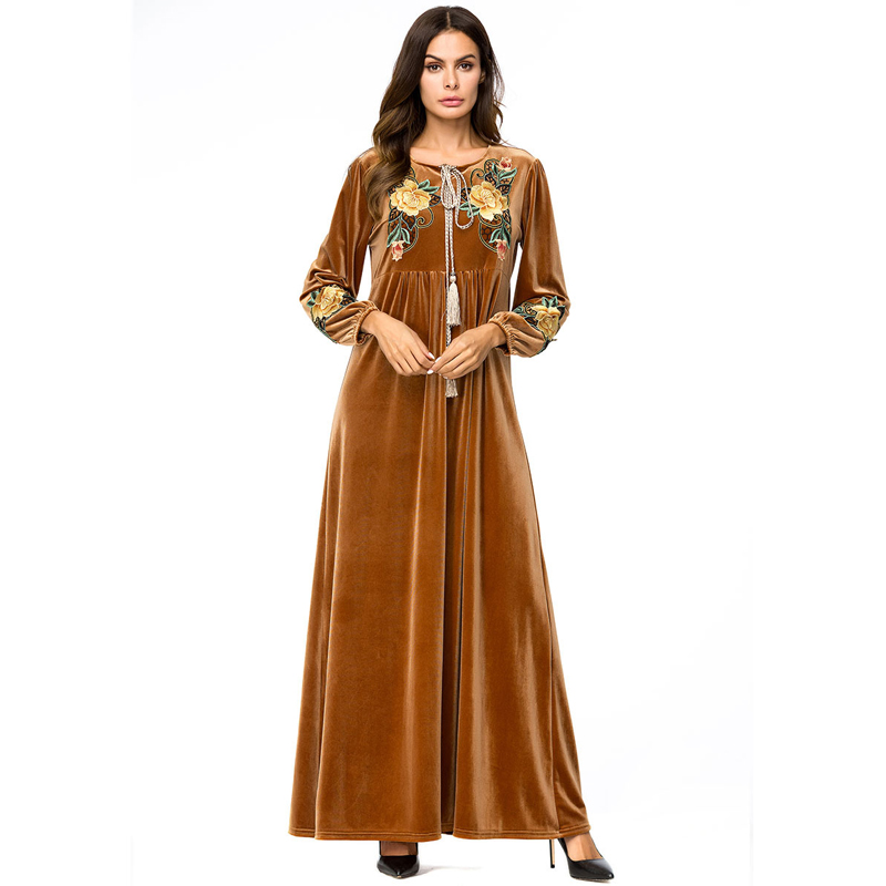 2019 Abaya Qatar UAE Kaftan Dubai Saudi Arabia Velvet Muslim Hijab Dress Abayas For Women Jilbab Robe Turkish Islamic Clothing