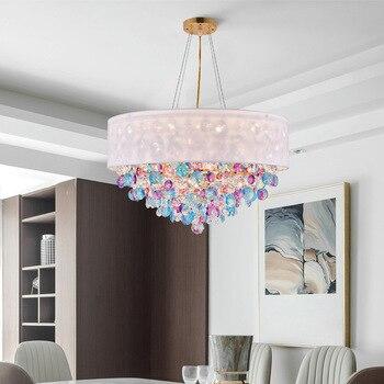 Nordic Modern Crystal Pendant Light Ruang Tamu Ruang Makan Lampu Besi Bar Dekorasi Kamar Tidur Ruang Belajar Pendant Light
