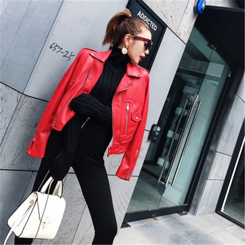 Bombardieri Cuoio Primavera Alta Sottile Del Di Moto Breve A Dell'unità Cappotto Donne Rosso Elaborazione Delle Qualità Giacca xIAFqIr