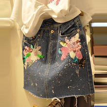 High quality sequins patch embroidery cowboy skirt short high waist women skirts package hip skirt