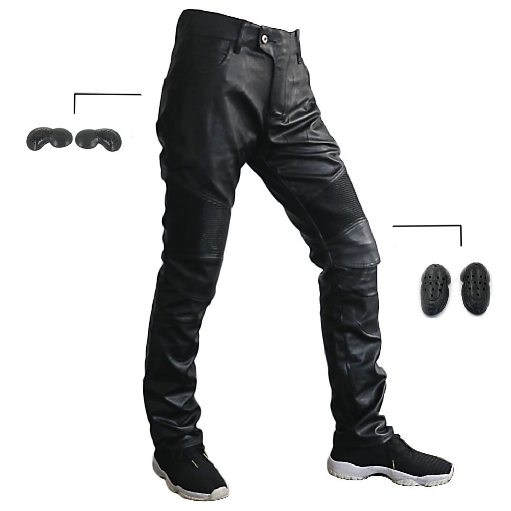 Men Boy Motorcycle PU Leather Biker Comfortable Pants Riding Breathability Trousers W Hip and Knee Protectors