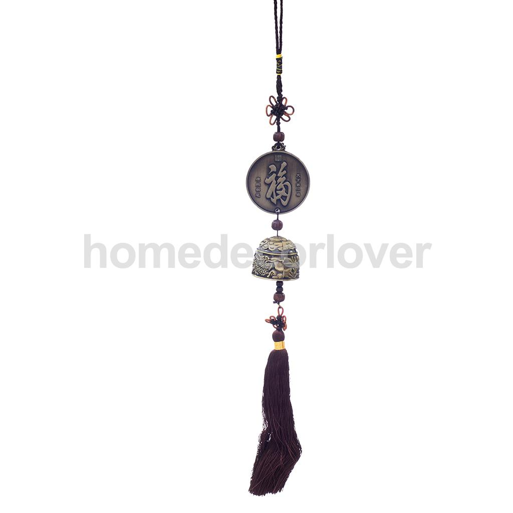 Chinese Fu Character Blessing Good Luck Hanging Windchime Feng Shui Bell