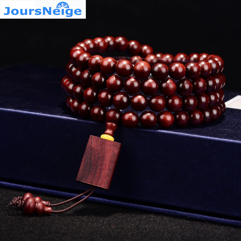 JoursNeige Old material Lobular Red Sandalwood <font><b>Bracelets</b></font> 108 Buddha Beads Size 8mm Manual Polished Smooth Pattern Men Jewelry image
