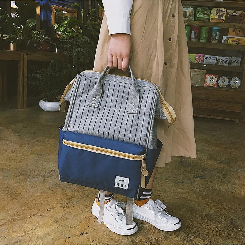 все цены на Patchwork Backpack Striped Bags for Women 2018 New Kanken Backpack Large Capacity Waterproof Backpacks Travel Girls Mochila Hot онлайн