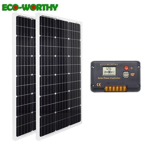 Sistema de energía Solar mono ecogorthy 200W 2 uds 100w 18V paneles monocristalinos con controlador solar 20A para cargador de batería de 12V